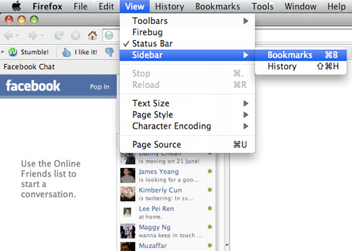add facebook chat on firebox sidebar