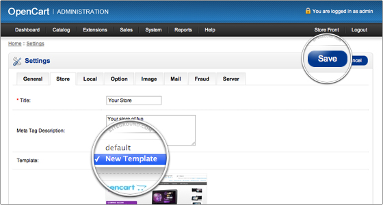 install template on opencart
