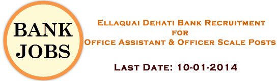 Ellaquai Dehati Bank (EDB) Recruitment 2014