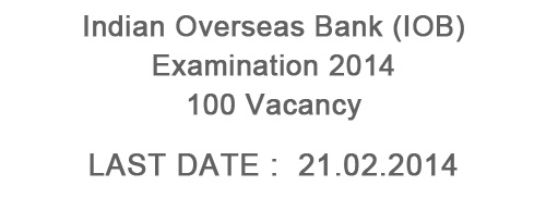 Indian Overseas Bank (IOB) Recruitment 2014 – 100 Vacancy
