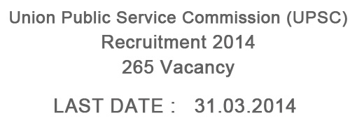 UPSC Recruitment 2014 – 265 Post