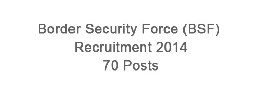 Border Security Force (BSF) Recruitment 2014 – 80 Posts