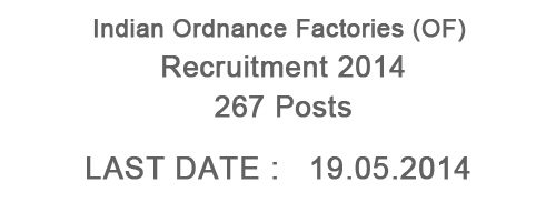 Indian Ordnance Factories Recruitment 2014 – 267 Posts