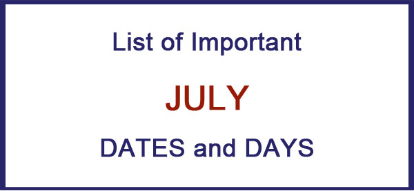 july important days and dates