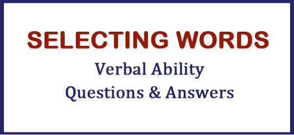 selecting words verbal ability questions
